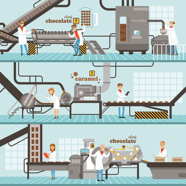 Process of caramel and chocolate production set of horizontal colorful banners? chocolate factory colorful detailed vector Illustrations