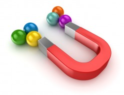 Red magnet and colorful ball , This is a computer generated and 3d rendered picture.
